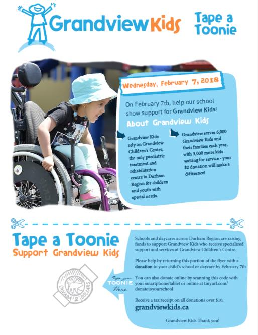 Tape a Toonie for Grandview Kids Flyer